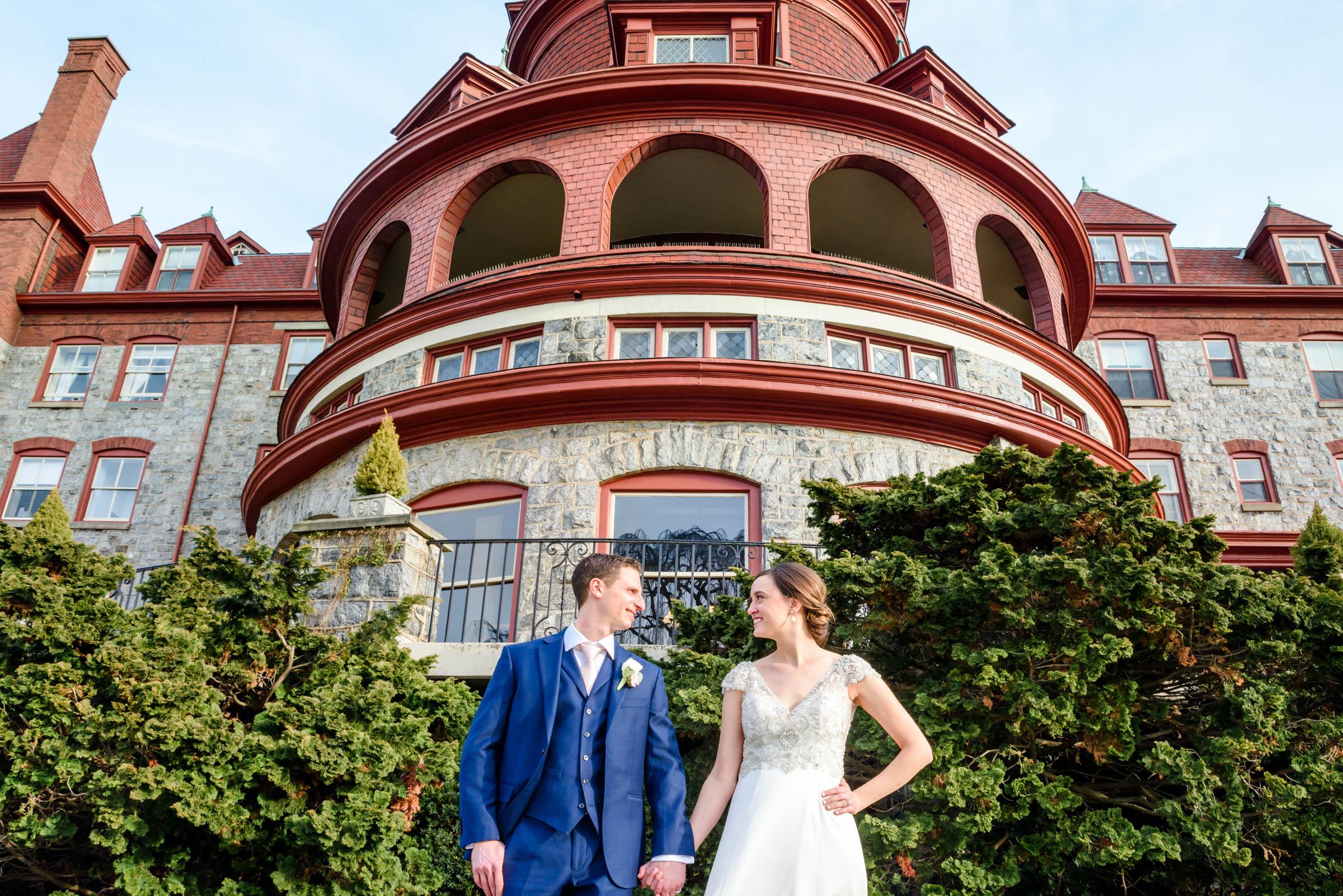 Bride and groom photos outside The Baldwin School wedding