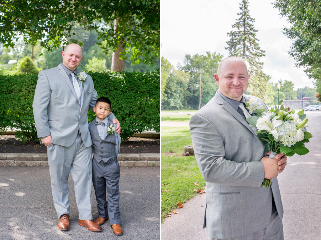 groom with son best man and holding brides bouquet