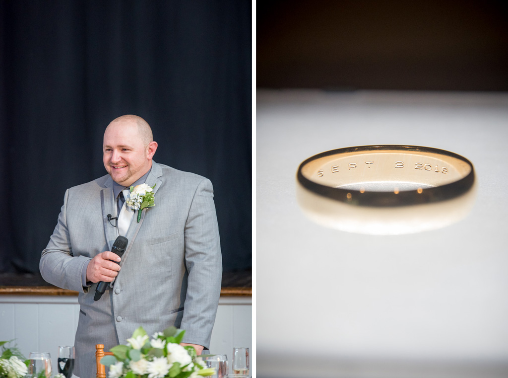 Groom speech at wedding ring engraved with wedding date