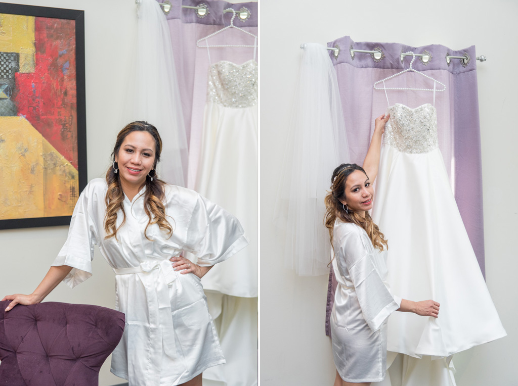 bride in robe waiting to put wedding dress on