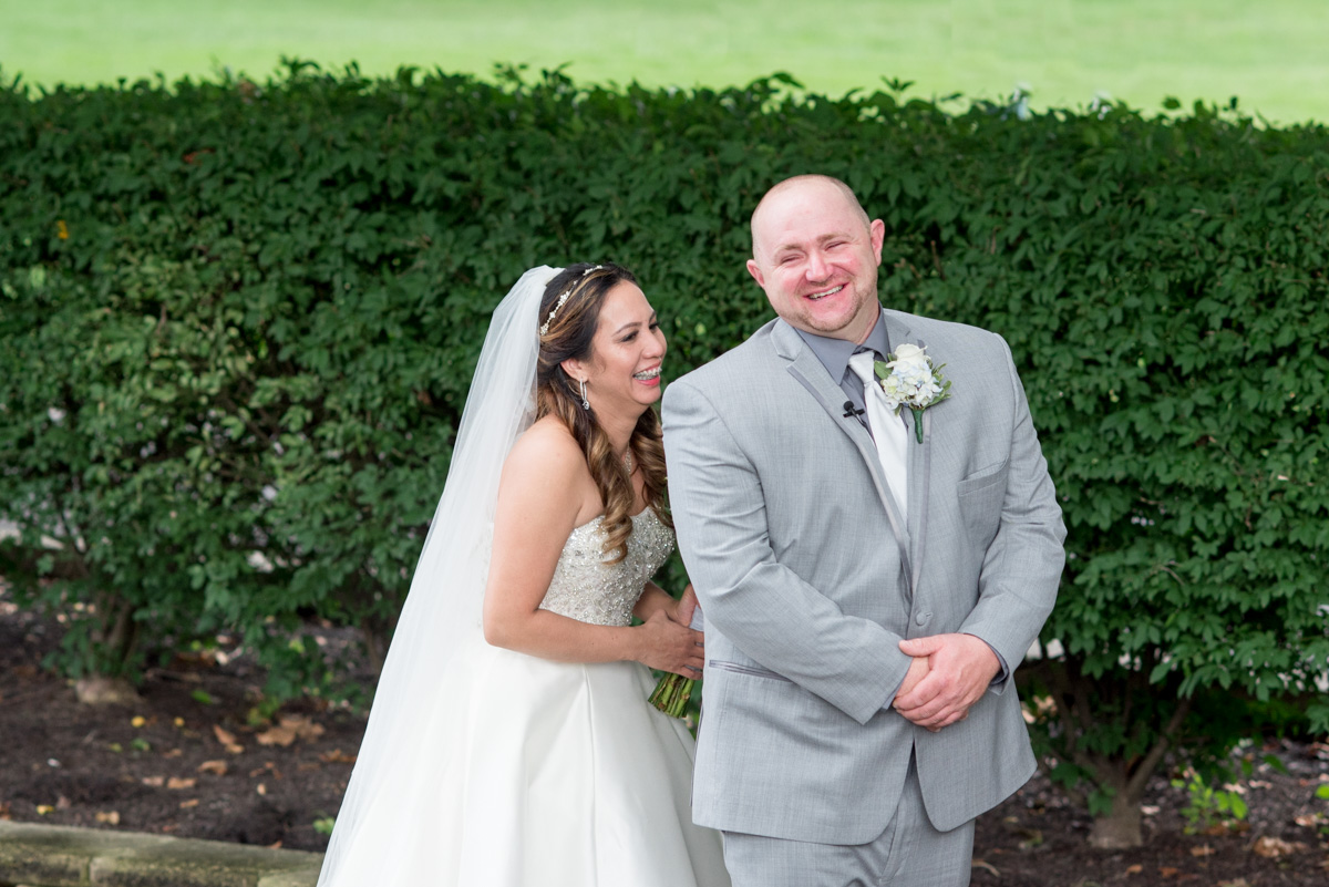 Bride and groom first look at sunnybrook ballroom Pottstown