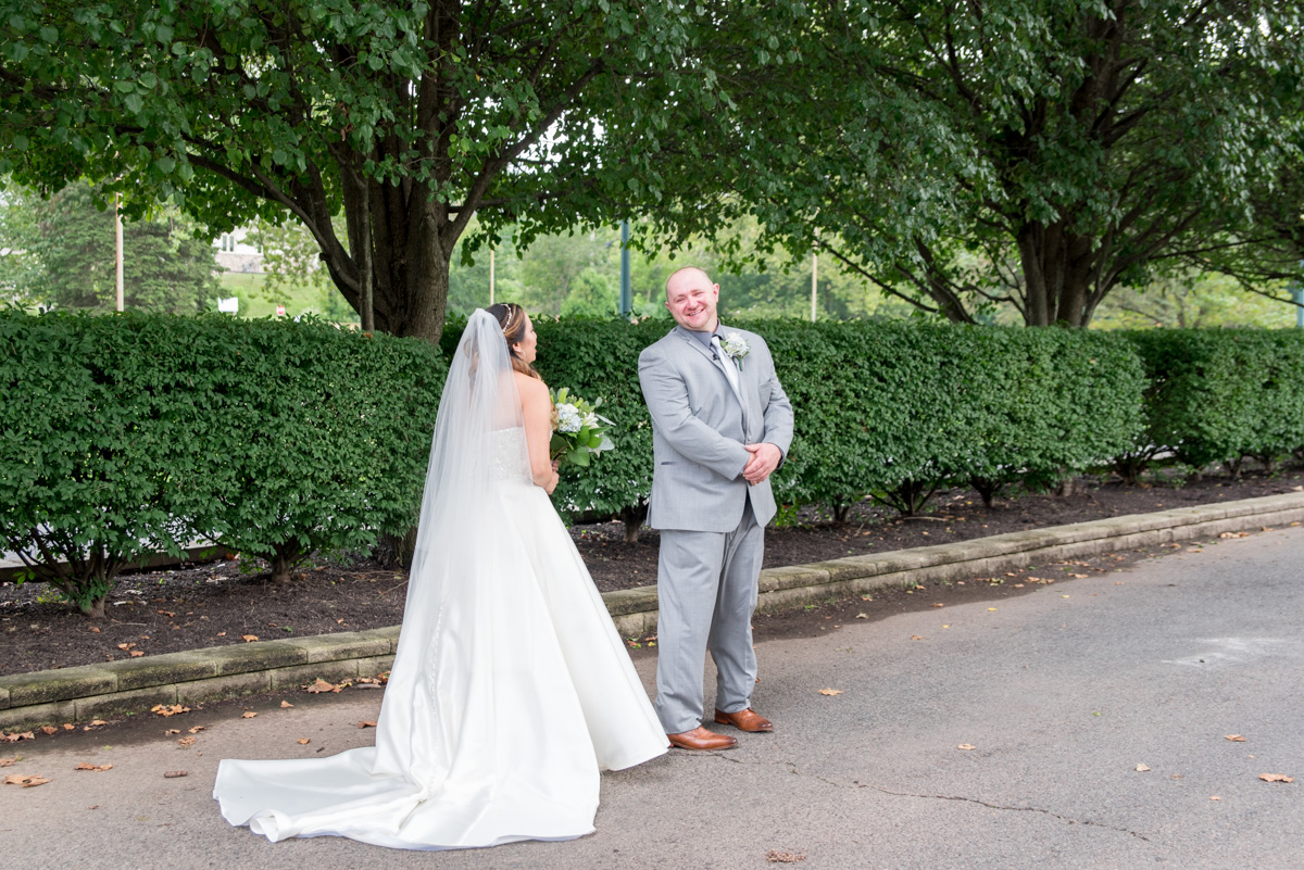 Bride and groom first look at sunnybrook Pottstown PA
