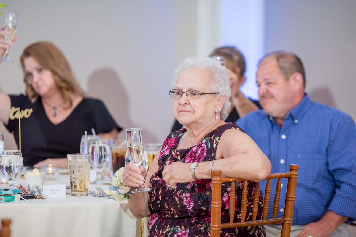 photo of grandmother during wedding speeches