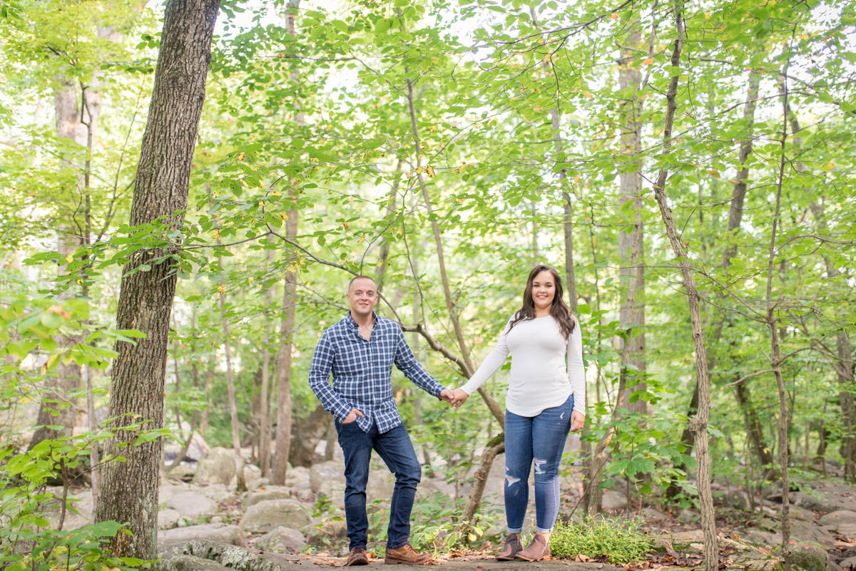 Engagement photos in the woods Saint Peters Village chester county PA