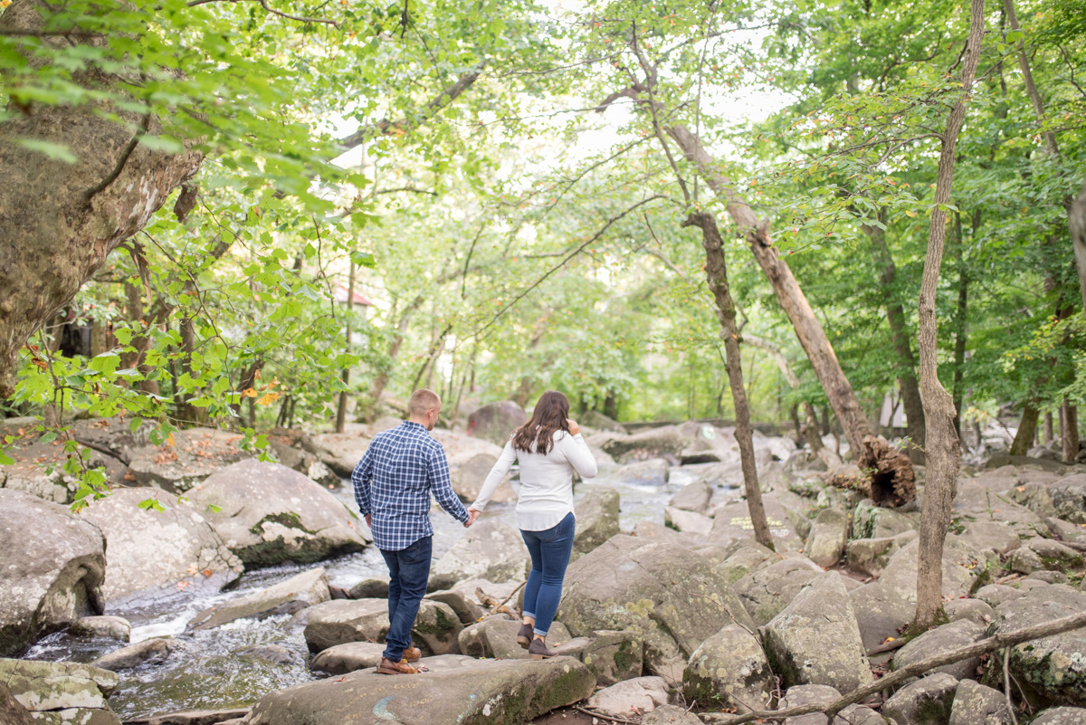 Chester county pa engagement photos saint peters village photos on rocks