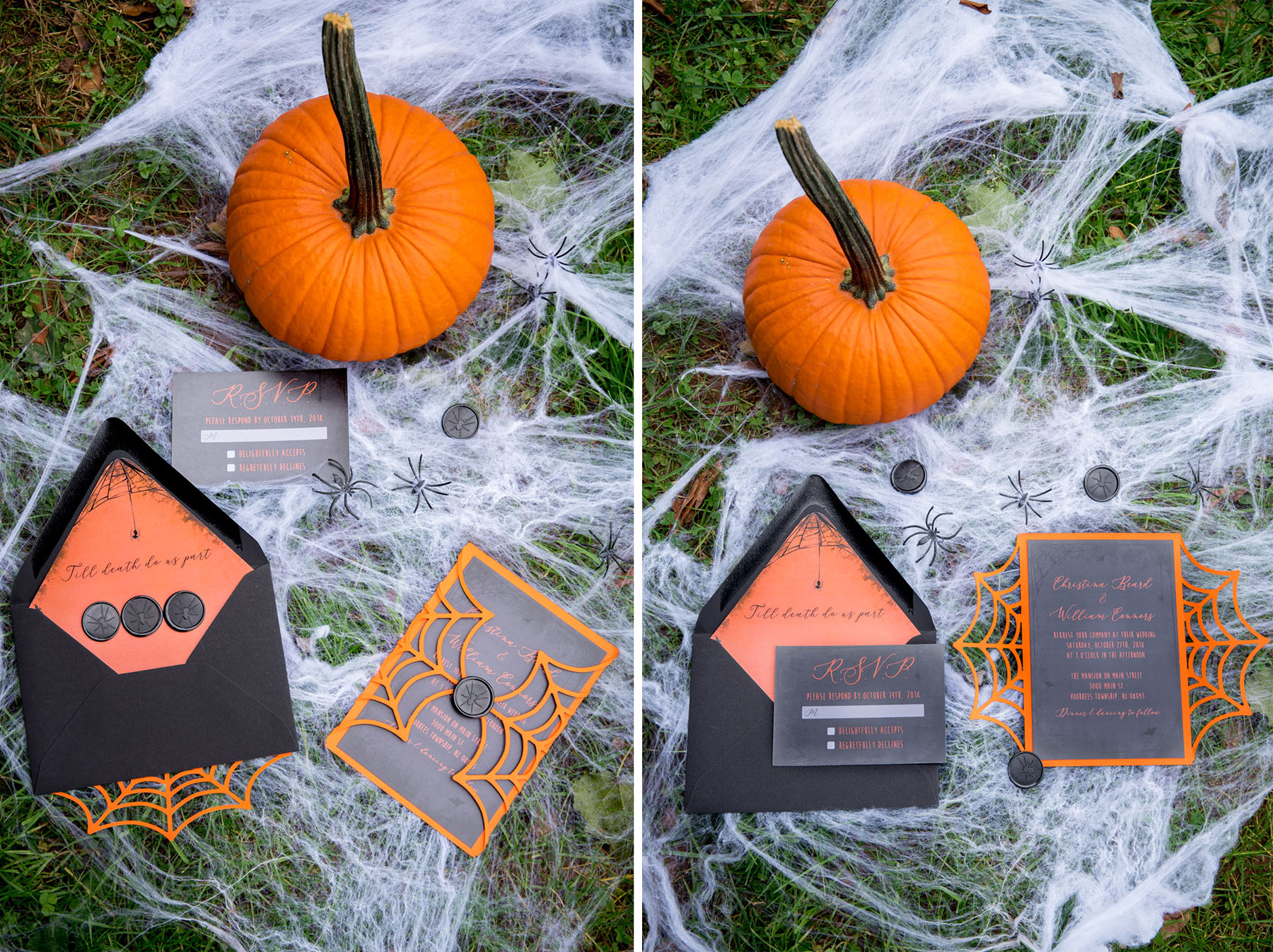 Halloween wedding invitations October wedding