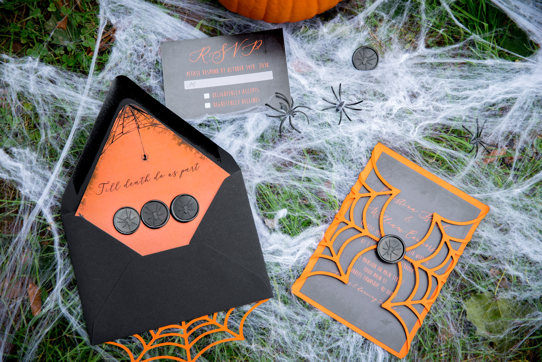 Halloween theme wedding with spider web decorations