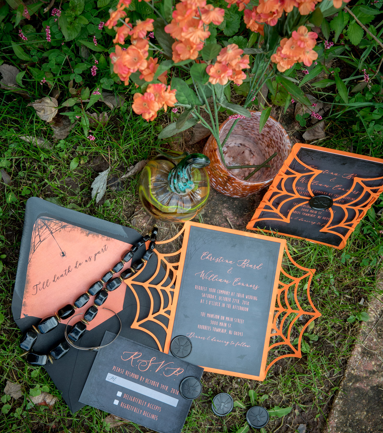 pretty photos of invitations for halloween theme wedding