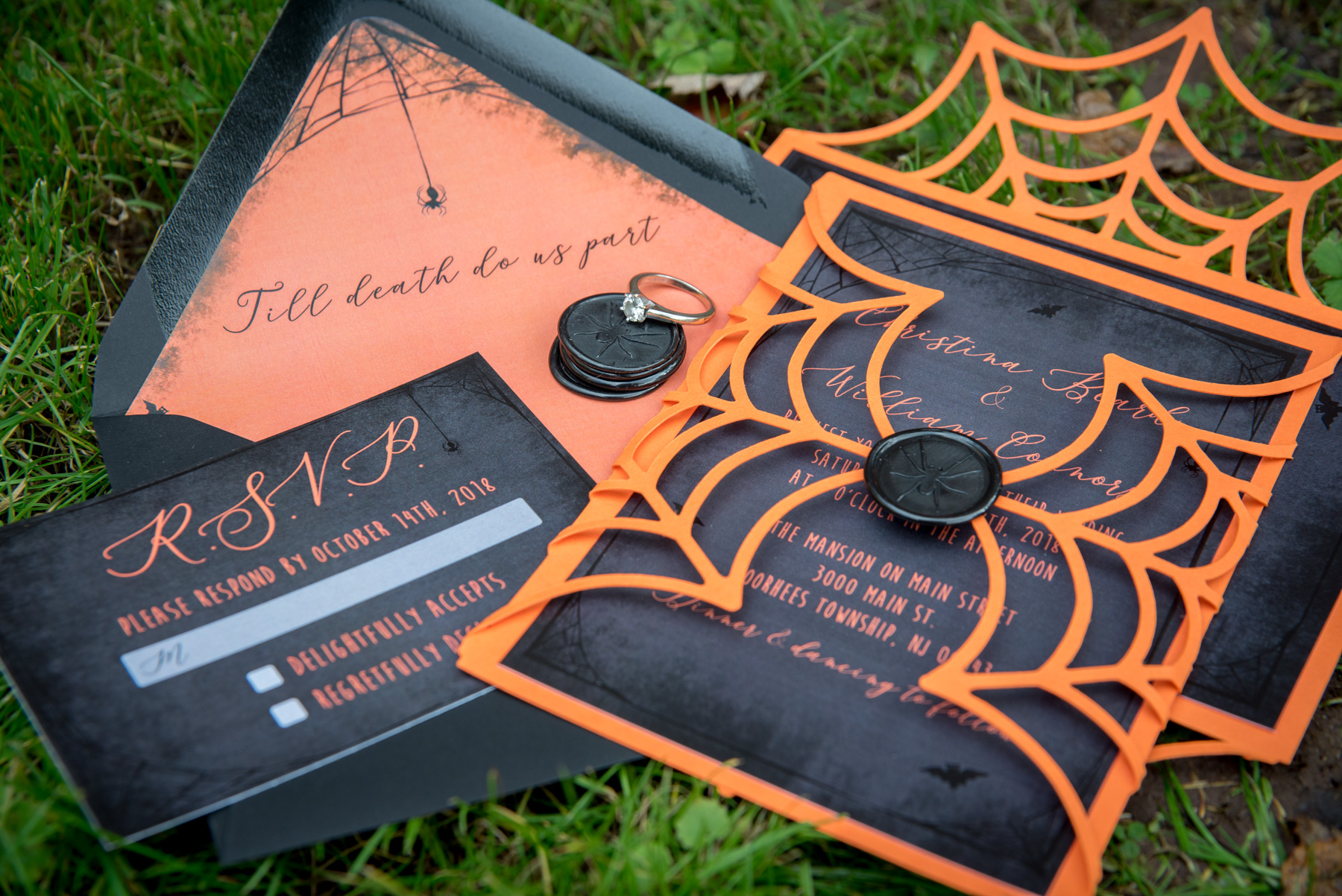 Halloween styled shoot photos of invitations