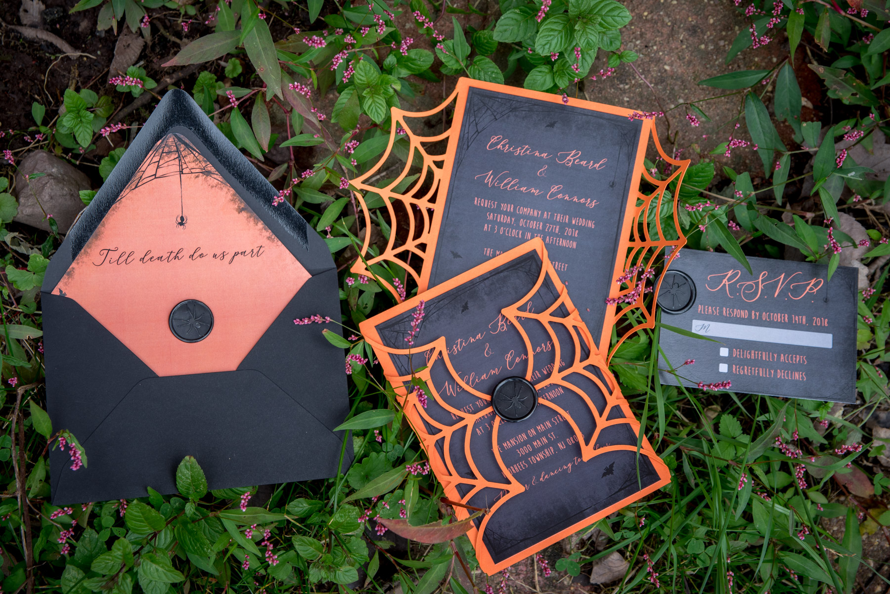 Philadelphia invitation designer custom wedding invites for Halloween theme wedding